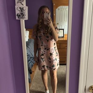 Pink Floral Strapless Dress